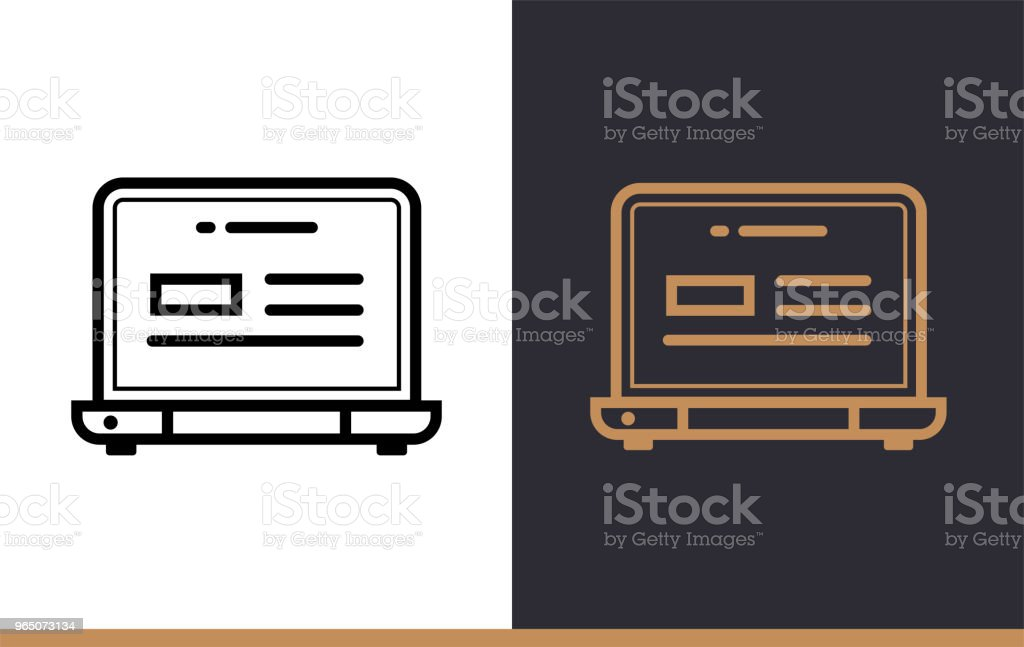 Outline laptop icon for startup business. Vector line icons suitable for info graphics, print media and interfaces outline laptop icon for startup business vector line icons suitable for info graphics print media and interfaces - stockowe grafiki wektorowe i więcej obrazów bez ludzi royalty-free