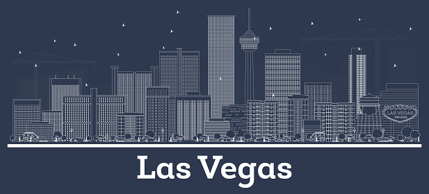Outline Las Vegas Nevada City Skyline with White Buildings.