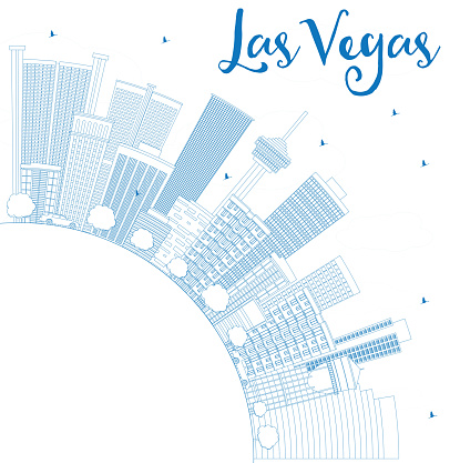 Outline Las Vegas Skyline with Blue Buildings and Copy Space.