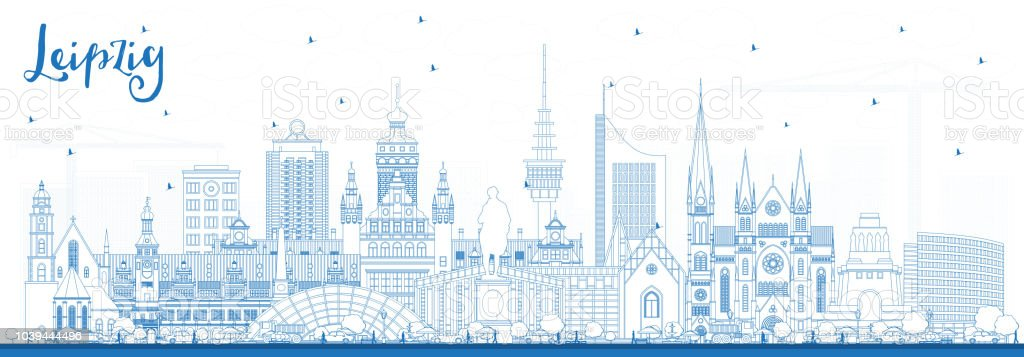 Outline Leipzig Germany City Skyline with Blue Buildings. vector art illustration