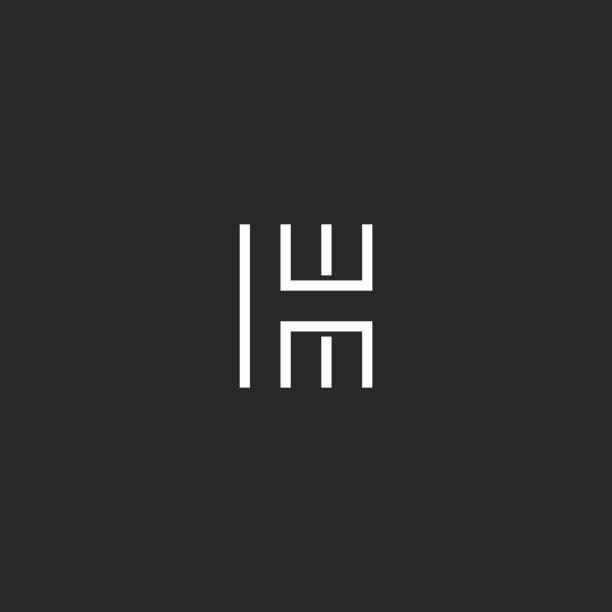 illustrations, cliparts, dessins animés et icônes de décrire le monogramme moderne lettre h, élément de conception mince ligne forme typographie, maquette de carte de visite linéaire emblème - polices ligne fine