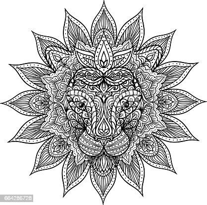Outline Lion Mandala Stock Vector Art Amp More Images Of