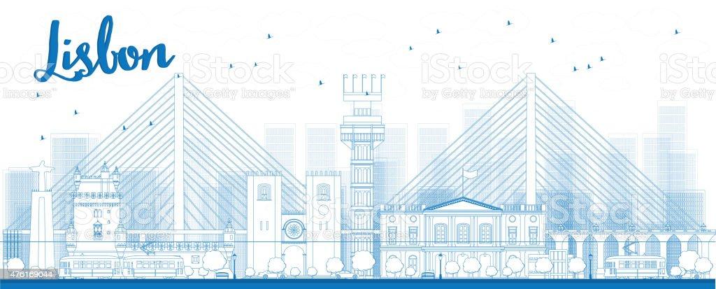 Outline Lisbon city skyline with blue buildings vector art illustration