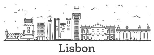 outline lisbon portugal city skyline with historic buildings isolated on white. - lizbona stock illustrations