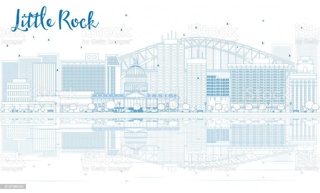 Outline Little Rock skyline with blue buildings and reflections. vector art illustration
