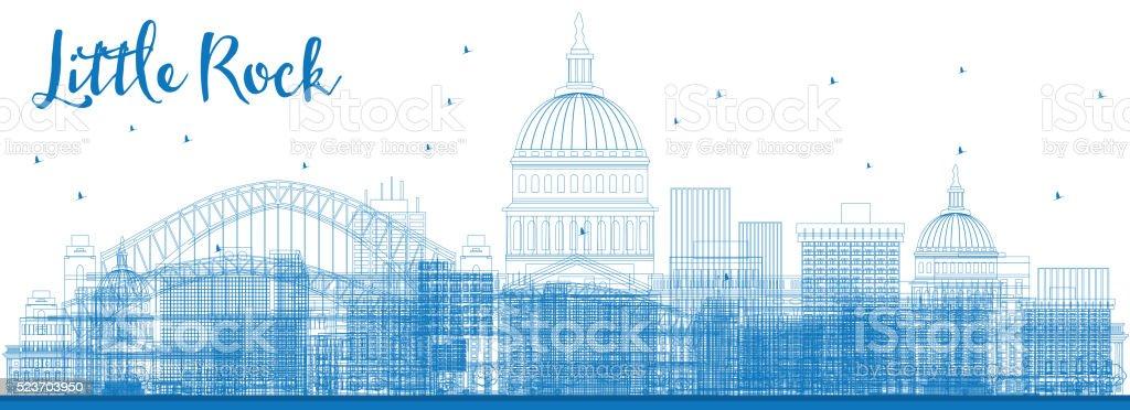 Outline Little Rock Skyline with Blue Buildings. vector art illustration