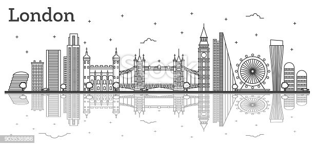 Outline London England City Skyline with Modern Buildings and Reflections Isolated on White.