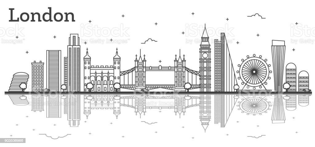 Outline London England City Skyline with Modern Buildings and Reflections Isolated on White. vector art illustration