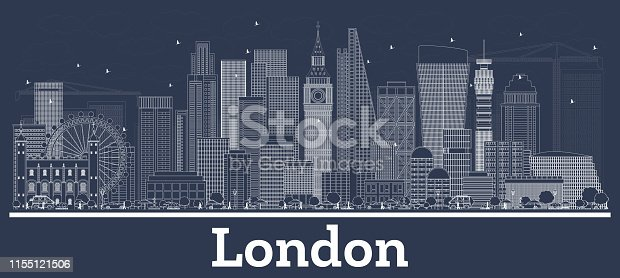 Outline London England City Skyline with White Buildings.
