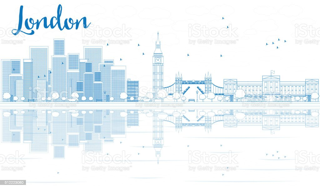 Outline London skyline with blue skyscrapers and reflections. vector art illustration