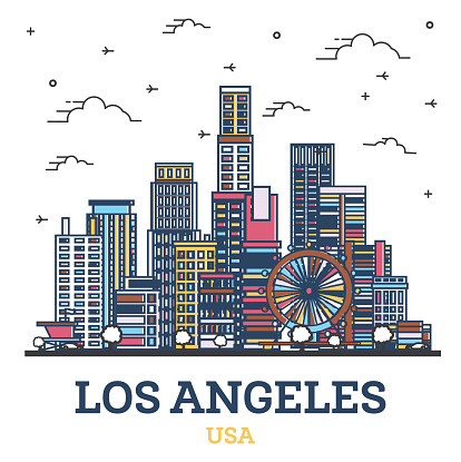 Outline Los Angeles California City Skyline with Colored Modern Buildings Isolated on White.