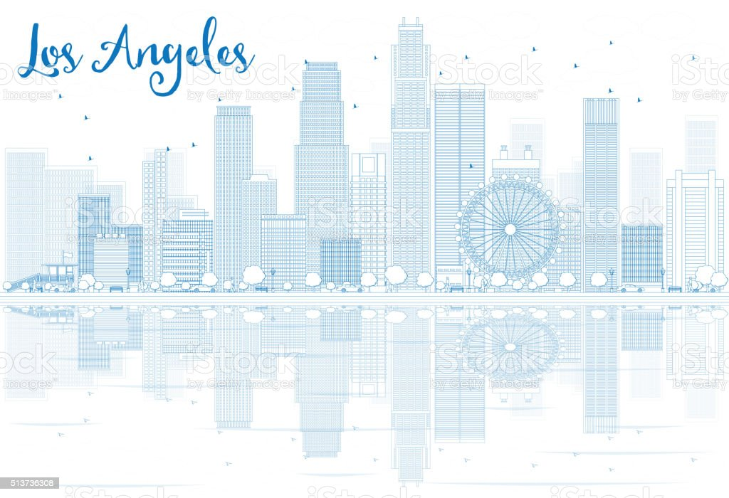 Outline Los Angeles skyline with blue buildings and reflections. vector art illustration