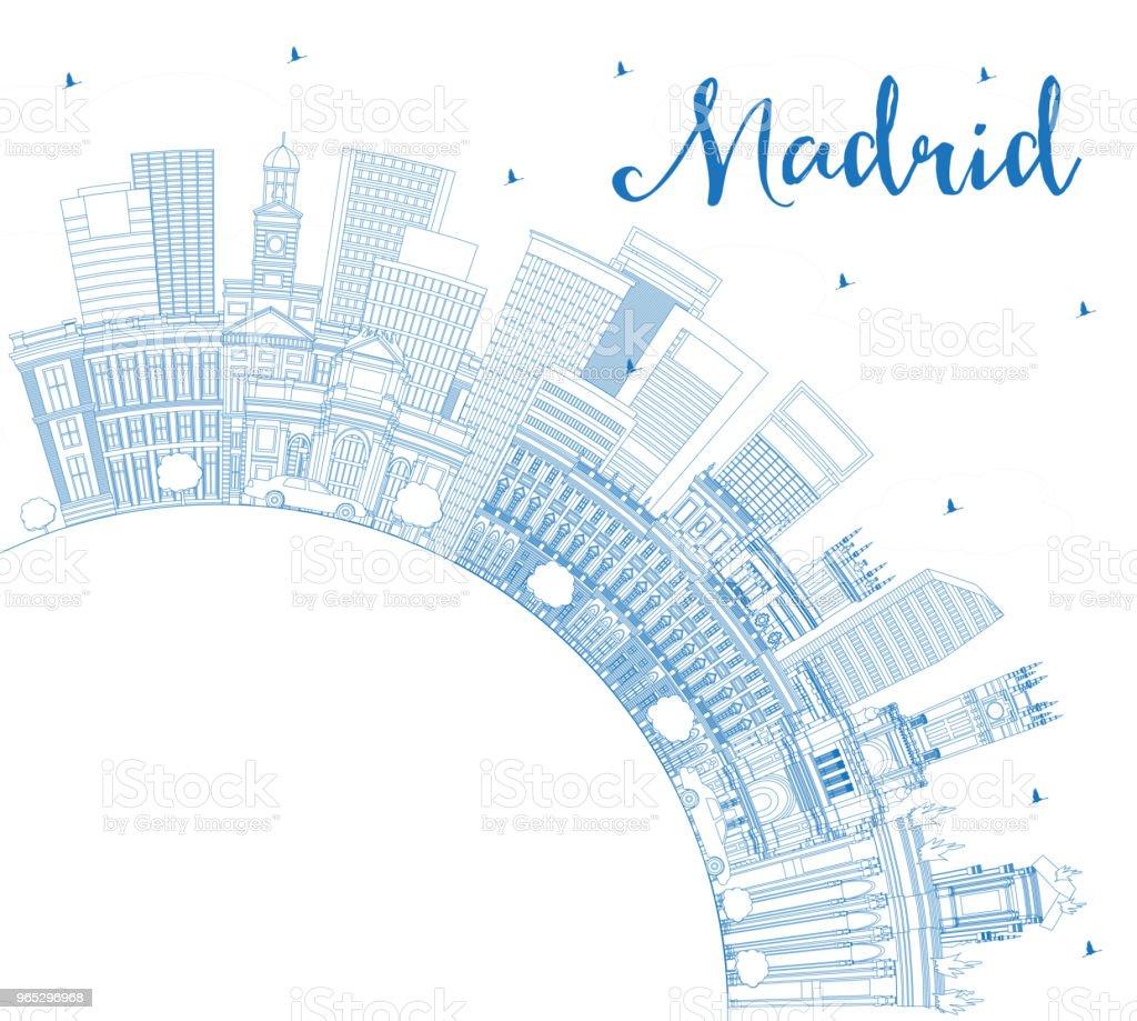 Outline Madrid Spain City Skyline with Blue Buildings and Copy Space. outline madrid spain city skyline with blue buildings and copy space - stockowe grafiki wektorowe i więcej obrazów architektura royalty-free