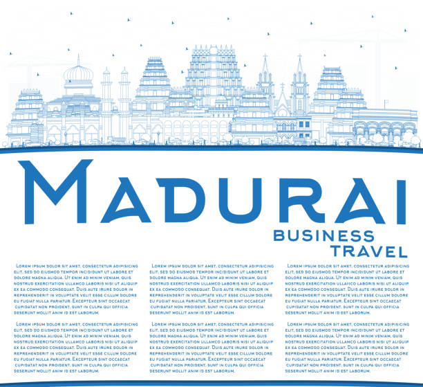umriss madurai india city skyline mit blue buildings und copy space. - madurai stock-grafiken, -clipart, -cartoons und -symbole