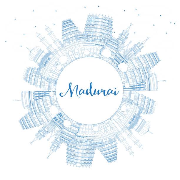 umriss madurai india city skyline mit blauen gebäuden und copy space. - madurai stock-grafiken, -clipart, -cartoons und -symbole