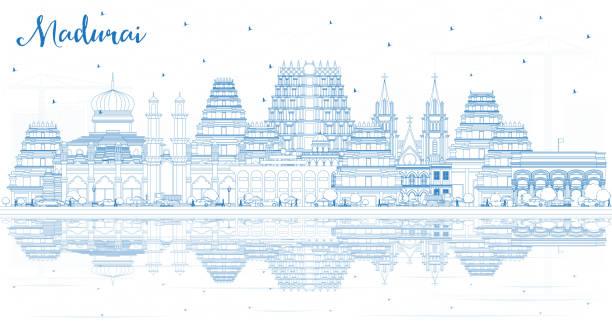 umriss madurai india city skyline mit blue buildings and reflections. - madurai stock-grafiken, -clipart, -cartoons und -symbole