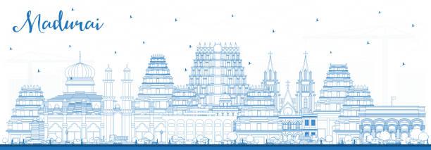 umriss madurai india city skyline mit blue buildings. - madurai stock-grafiken, -clipart, -cartoons und -symbole