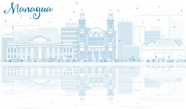 umriss managua skyline mit blauen gebäuden und reflexionen. - managua stock-grafiken, -clipart, -cartoons und -symbole