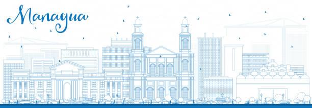 umriss managua skyline mit blauen gebäude. - managua stock-grafiken, -clipart, -cartoons und -symbole