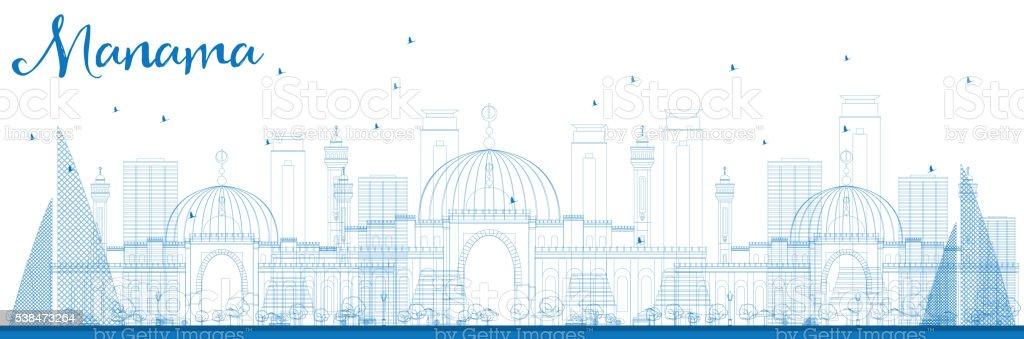 Outline Manama Skyline with Blue Buildings. vector art illustration