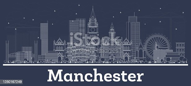 Outline Manchester UK City Skyline with White Buildings. Vector Illustration. Business Travel and Tourism Concept with Modern Architecture. Manchester Cityscape with Landmarks.