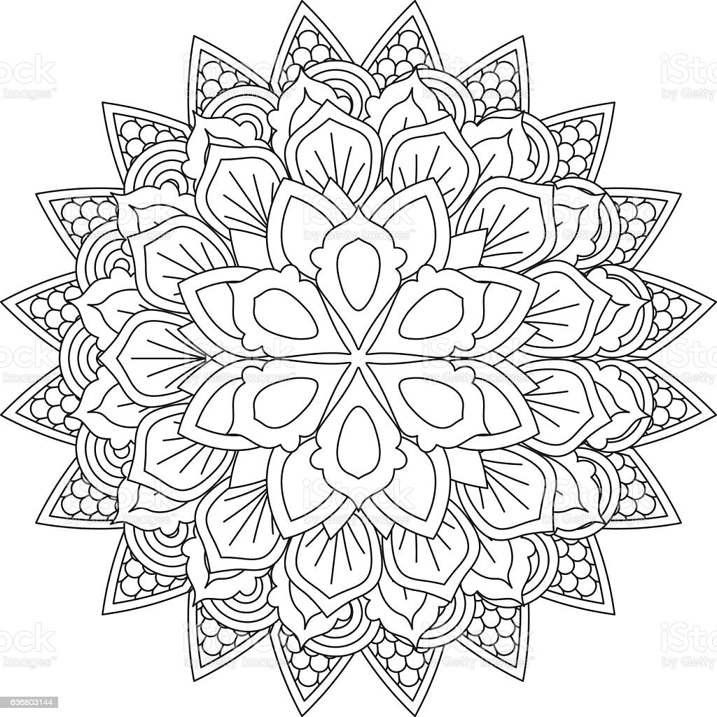 Outline Mandala For Coloring Book Decorative Round Ornament Stock Illustration Download Image Now Istock
