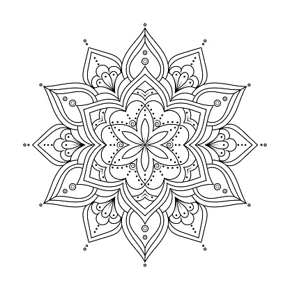 Outline Mandala for coloring book. Ethnic round elements.