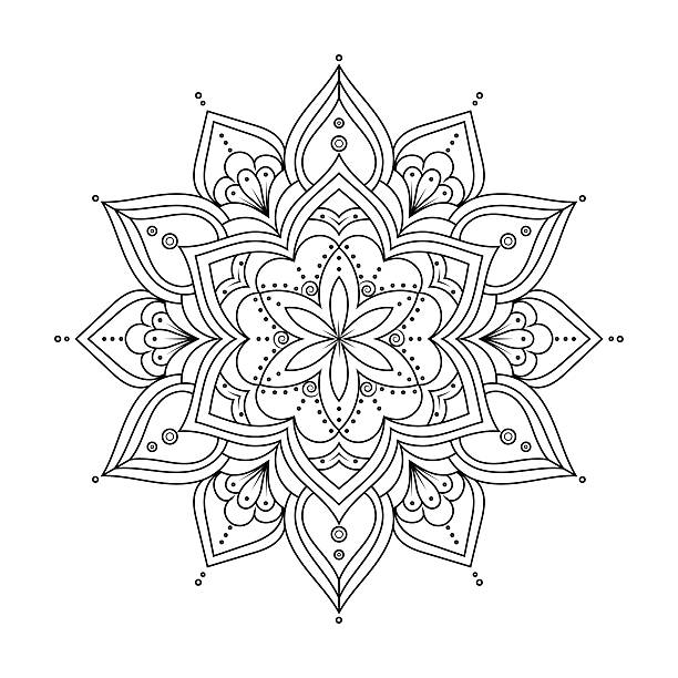 bildbanksillustrationer, clip art samt tecknat material och ikoner med outline mandala for coloring book. ethnic round elements. - mandala