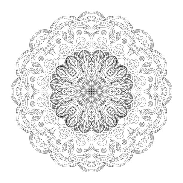 Outline Mandala for coloring book page. Anti-stress therapy vector pattern vector art illustration