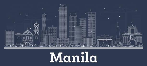stockillustraties, clipart, cartoons en iconen met overzicht manila filipijnen skyline van de stad met witte gebouwen. - filipijnen