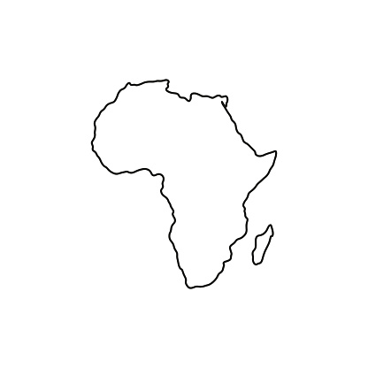 Outline map of Africa on white background.