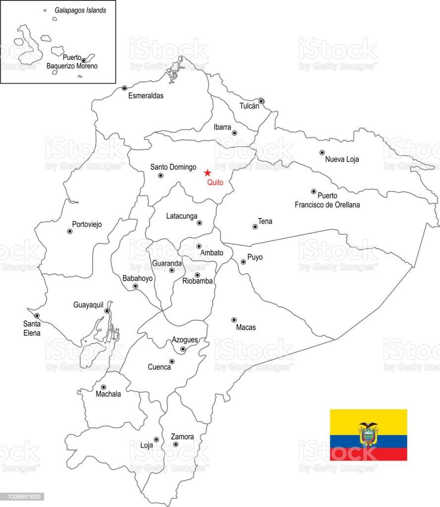 Mapa de contorno do Equador com bandeira - ilustração de arte em vetor