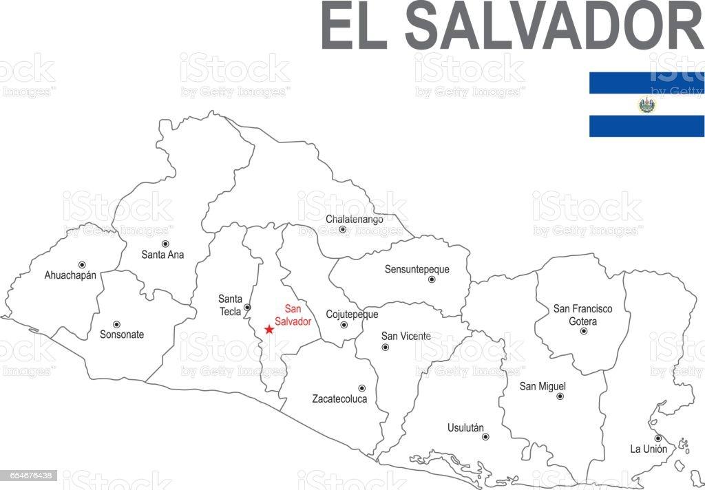 Ilustración de Mapa Del Salvador Con La Bandera Del ...