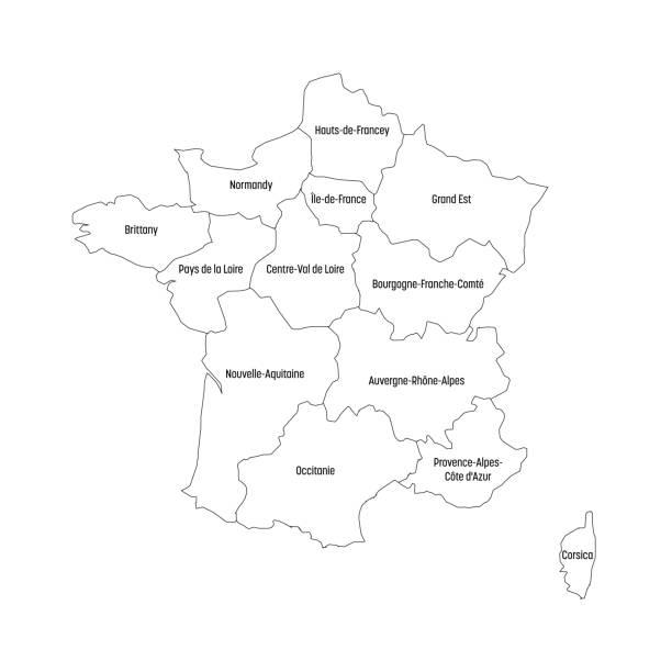 zarys mapy francji podzielonej na 13 administracyjnych regionów metropolitalnych, od 2016 roku. cztery odcienie zieleni. ilustracja wektorowa - francja stock illustrations