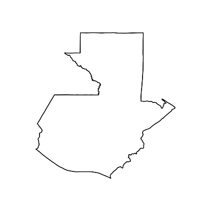 Outline map of Guatemala white background.