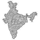 Outline map of India filled with a high-detailed floral pattern. Flower ornament in oriental mehndi style. Doodle coloring book page.