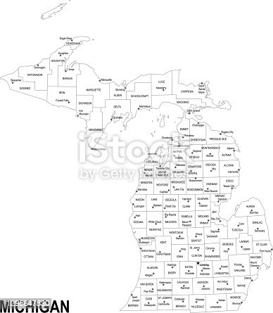 istock Outline map of Michigan 1295647830