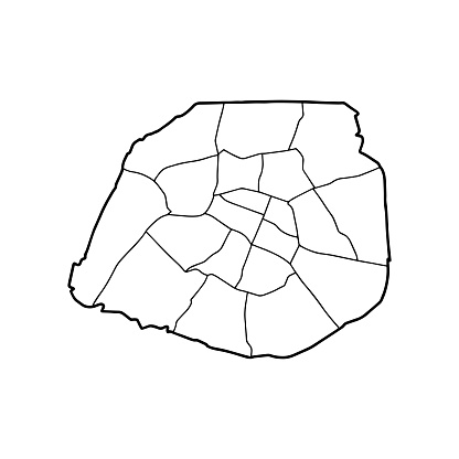 Outline map of Paris white background.