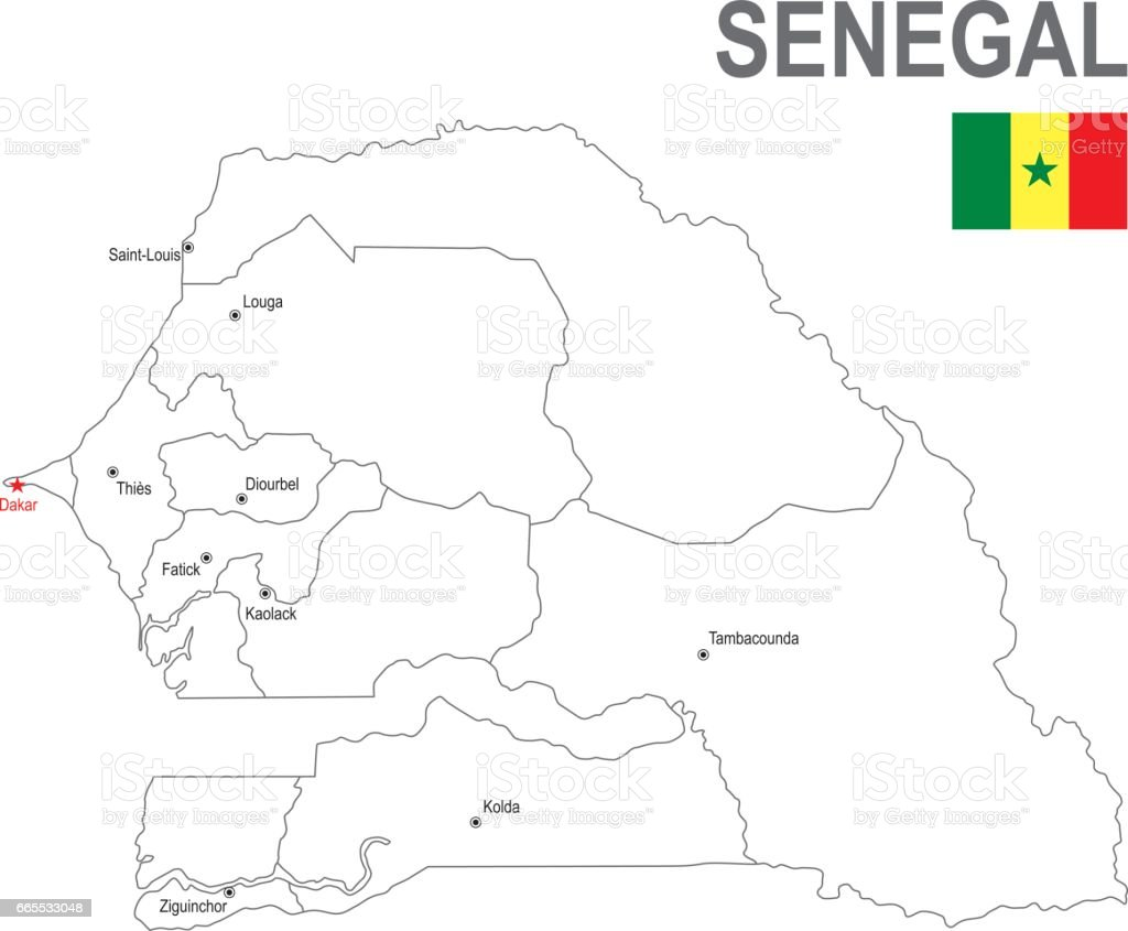 Outline Map Of Senegal With Flag Stock Vector Art More Images of