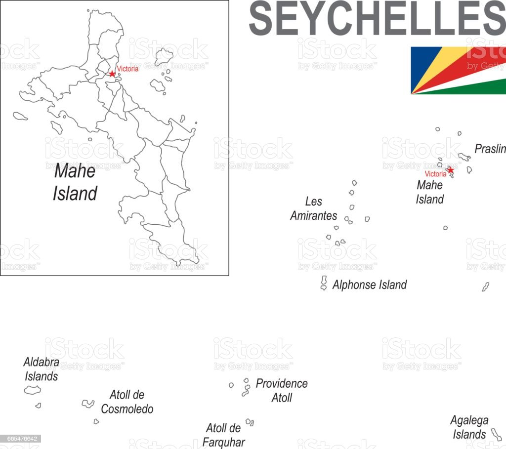 outline map of seychelles with flag stock vector art 665476642