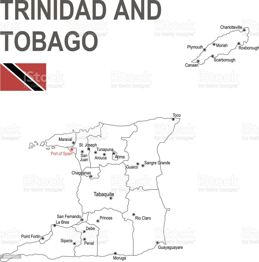 Outline Map Of Trinidad And Tobago With Flag Stock Vector Art & More ...