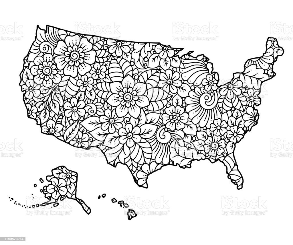 Outline Map Of United States Of America Filled With A ...