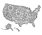 Outline map of United States of America filled with a high-detailed floral pattern. Flower ornament in oriental mehndi style. Coloring book page.