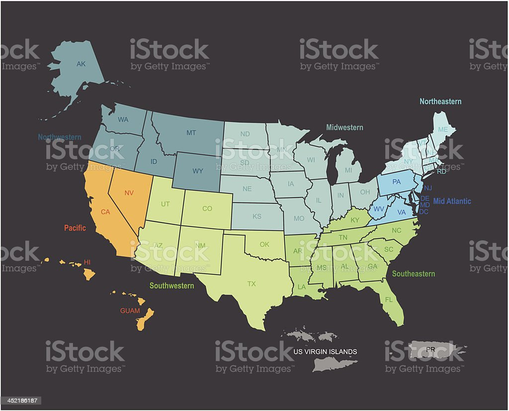 Outline Map Of Usa With States And Teritories Marked stock vector
