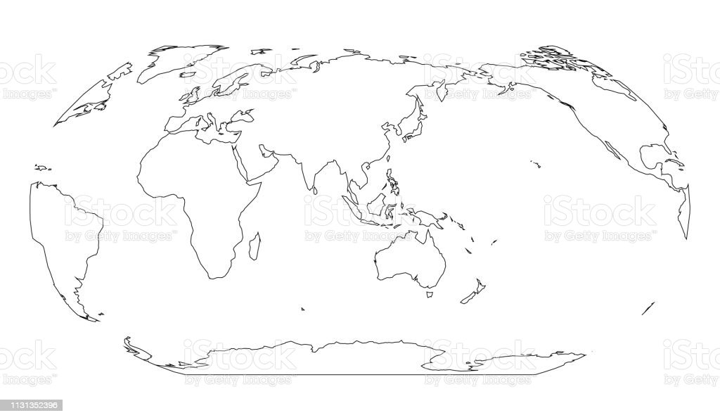 Outline Map Of World Asia And Australia Centered Simple Flat ...