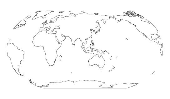 Simple Map Of Asia And Australia.Outline Map Of World Asia And Australia Centered Simple Flat