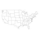 Vector illustration of the outline of the United States of America map.
