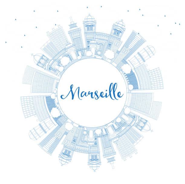 stockillustraties, clipart, cartoons en iconen met overzicht marseille frankrijk stad skyline met blauwe gebouwen en kopie ruimte. - marseille