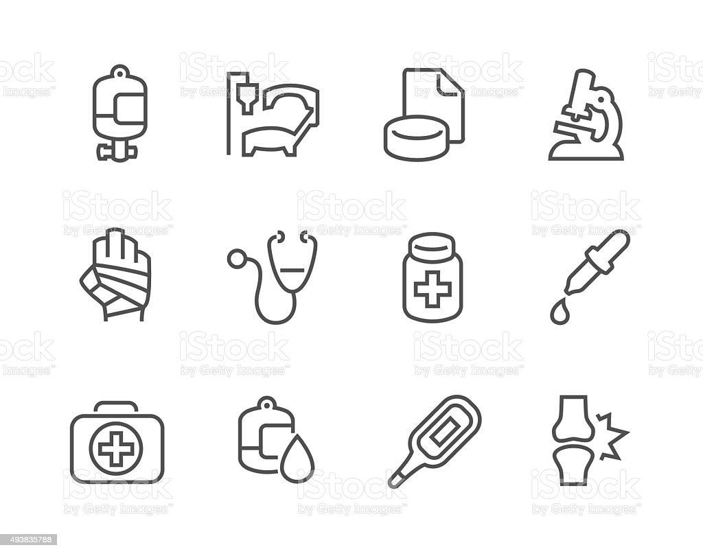 Outline Medical Icons vector art illustration