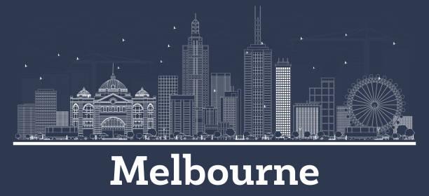 outline melbourne australia city skyline with white buildings. - melbourne stock illustrations
